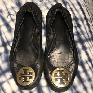 Tory Burch Black Leather Flats sz 8-1/2